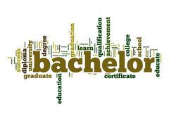 bachelor word cloud - stock illustration