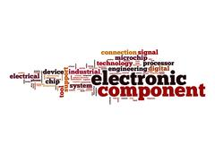 electronic component word cloud - stock illustration