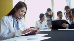 Asian Chinese Medical Consultants Boardroom Planning Meeting Stock Footage