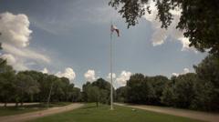 Flag between streets in Retro film look - stock footage