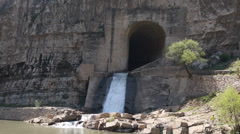 Water from a dam by the hanging temple in datong china Stock Footage