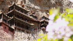 The hanging temple monastery at datong china dolly shot Stock Footage