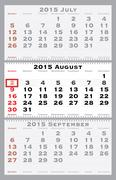 2015 august with red dating mark Stock Illustration