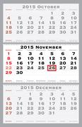 2015 november with red dating mark - stock illustration