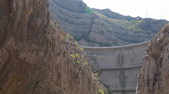 A dam by the hanging temple in datong china with tourists Stock Footage