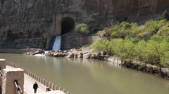 Water from the dam by the hanging temple in datong china Stock Footage