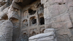 Sculptures at the yungang grottoes in datong china Stock Footage