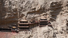 Hanging temple monastery in datong china Stock Footage