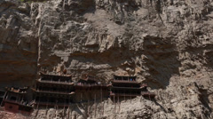 Tourists in hanging temple monastery in datong china Stock Footage