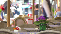 Italy, Rome, street cafe on Piazza Navona. Selective focus. - stock footage