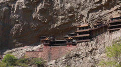 The hanging temple in datong china Stock Footage
