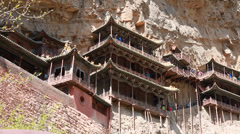 Hanging temple monastery at datong china dolly shot Stock Footage