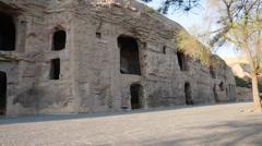Visiting the yungang grottoes at datong china Stock Footage