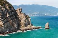 Stock Photo of sail rock at the cape limen burun. gaspra, big yalta