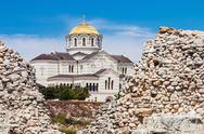 Stock Photo of view of vladimir cathedral in tauric chersonesos, sevastopol city