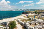 Stock Photo of visiting tourists ancient ruins of the ancient city of chersonesos
