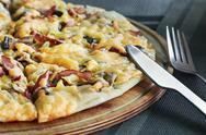 Stock Photo of pizza with mushrooms and cheese