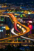 Portland freeway at night Stock Photos