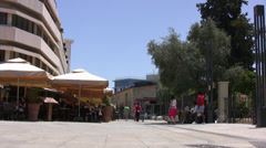 Paved pedestrian area near castle in Limassol Stock Footage