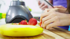 Hands Ethnic Male Female Kitchen Blender Fresh Fruit - stock footage