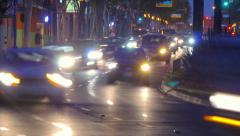 Night traffic on Santa Monica Blvd in West Hollywood, CA. 4K timelapse. Stock Footage