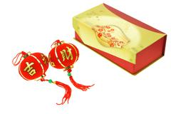 chinese new year lantern ornament and gift box - stock photo