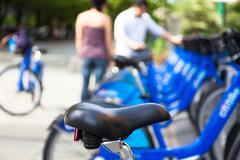 Bike rental station in new york city - usa Stock Photos