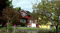 Europe Norway city of Molde 010 wooden houses in the upper village Stock Footage