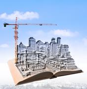Sketching of building construction on flying book over urban scene Stock Illustration