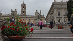 Italy, Rome, steps to Capitol hill,  Piazza del Campidoglio. Stock Footage