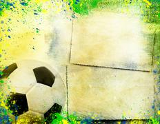 Football and the brazil flag's colours Stock Illustration