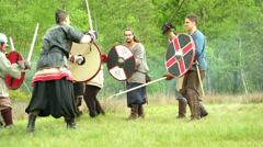 Celtic warrior fight 02 Stock Footage
