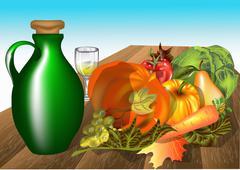 Autumn table Stock Illustration