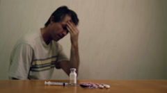 Male With Headache Drugs Dolly Stock Footage