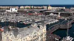 Types of Barcelona. Aerial view of Port Vell from the Columbus Monument. Stock Footage