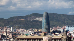 Types of Barcelona. Torre Agbar tower. Stock Footage