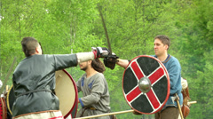 Celtic warrior fight 03 Stock Footage