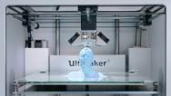 Stock Video Footage of TL 3D - printer - printing a blue bust