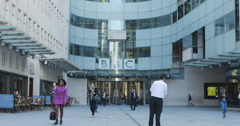 Staff leaving BBC in London 4K Stock Footage