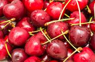 Stock Photo of Wet And Fresh Red Cherries