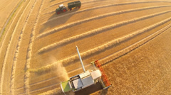 Aerial of harvesting a grainfield wirth a combine harvester Stock Footage
