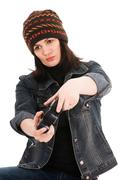 woman gamer with joystick - stock photo