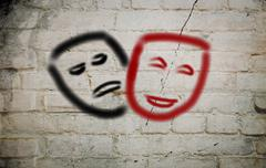 comedy and tragedy theatrical masks concept - stock illustration