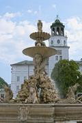 Residence fountain in salzburg Stock Photos