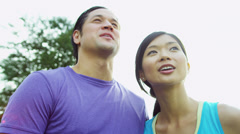 Happy Heterosexual Asian Chinese Couple Outdoors - stock footage