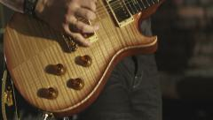 Rock musician is playing the electric guitar smoke 4k Stock Footage