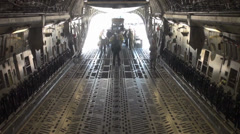 C-17 Globemaster Aircraft and cargo deploy to Nellis Air Force Base Stock Footage