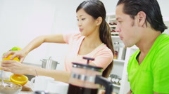 Ethnic Couple Kitchen Counter Healthy Lifestyle Breakfast Stock Footage