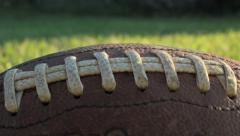 Pan of football laces Stock Footage