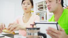 Young Ethnic Couple Enjoying Breakfast Croissants Stock Footage